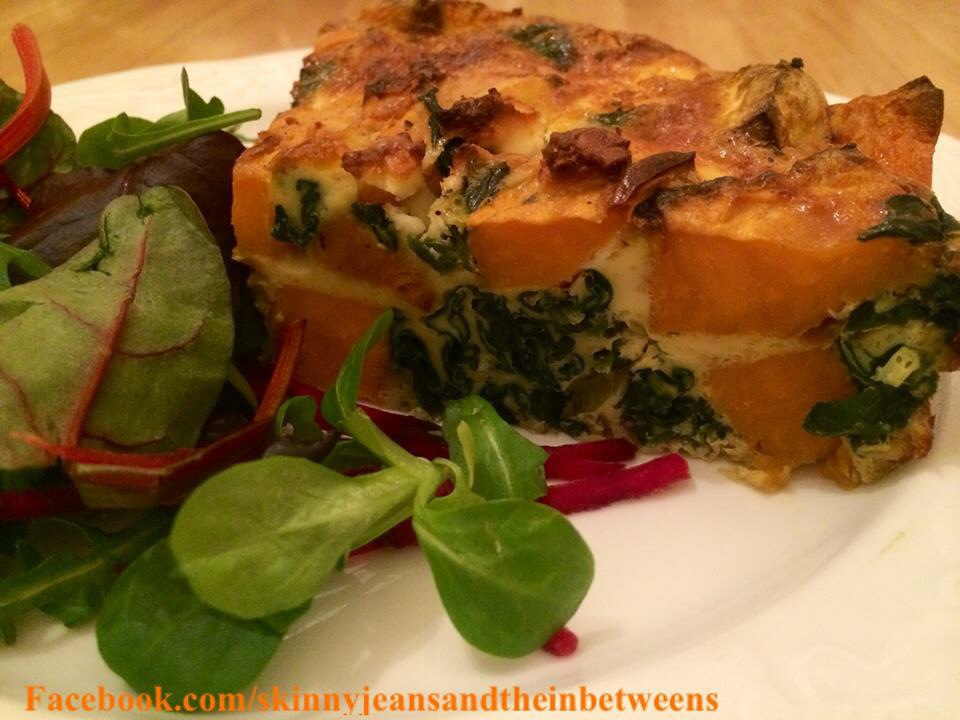 Baked Sweet Potato, Spinach & Feta Frittata | Skinny Jeans and the ...