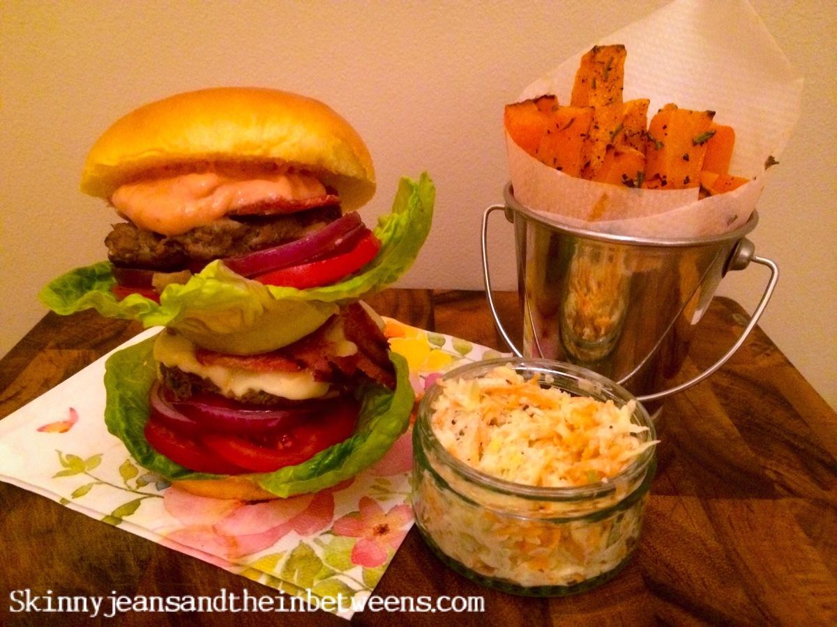 Juicy Double Bacon Cheese Burger on a Brioche Bun with ...